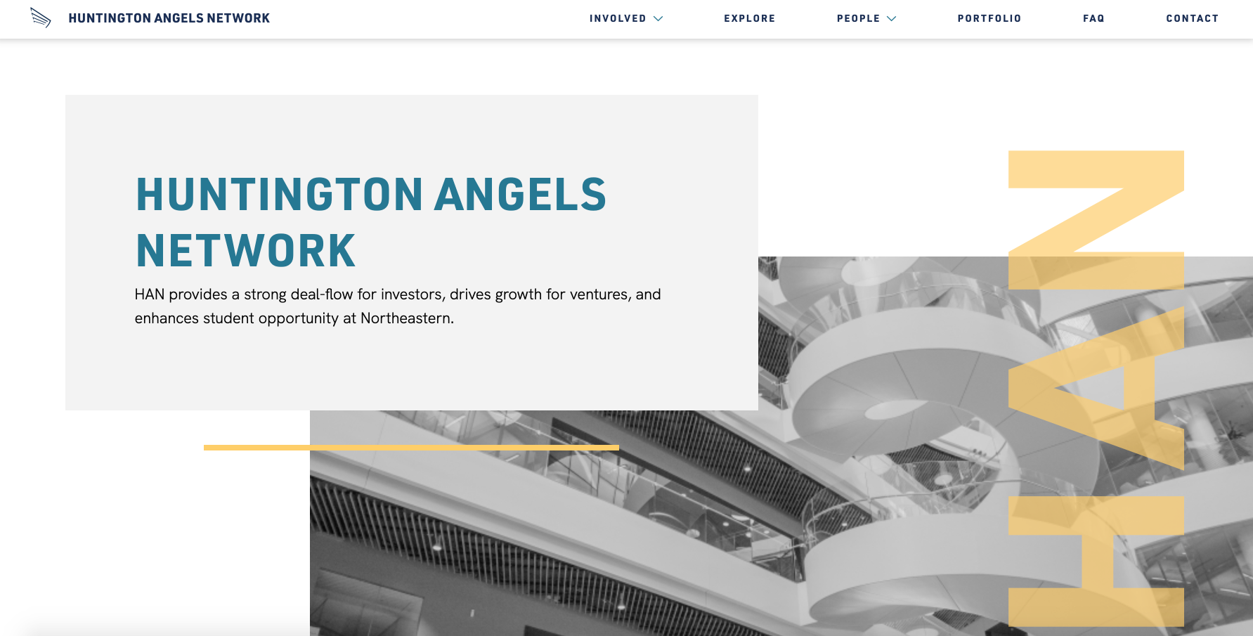 a screenshot of the Huntington Angels Network website, with the organization name in blue letters over a gray block, overlaid on a black and white photo of a spiral staircase. The acronym HAN is overlaid in translucent yellow text over the photo.